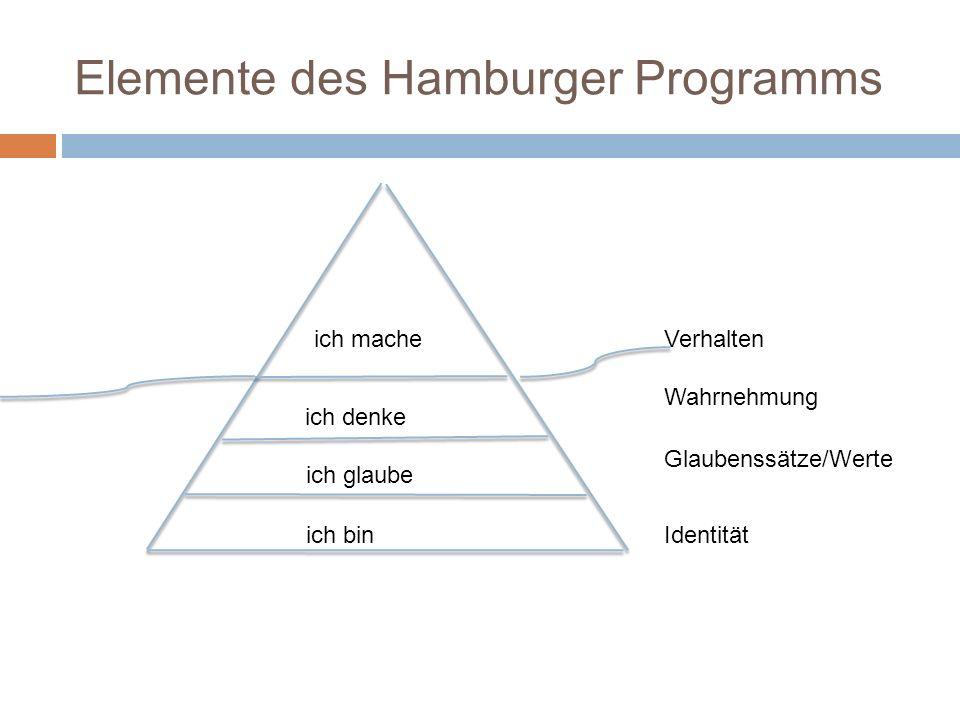 Elemente des Hamburger Programms ich bin ich glaube ich denke ich mache Identität Glaubenssätze/Werte Wahrnehmung Verhalten