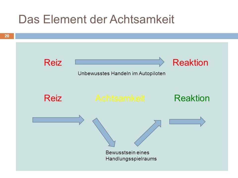Das Element der Achtsamkeit Reiz Reaktion Unbewusstes Handeln im Autopiloten Reiz Achtsamkeit Reaktion 20 Bewusstsein eines Handlungsspielraums