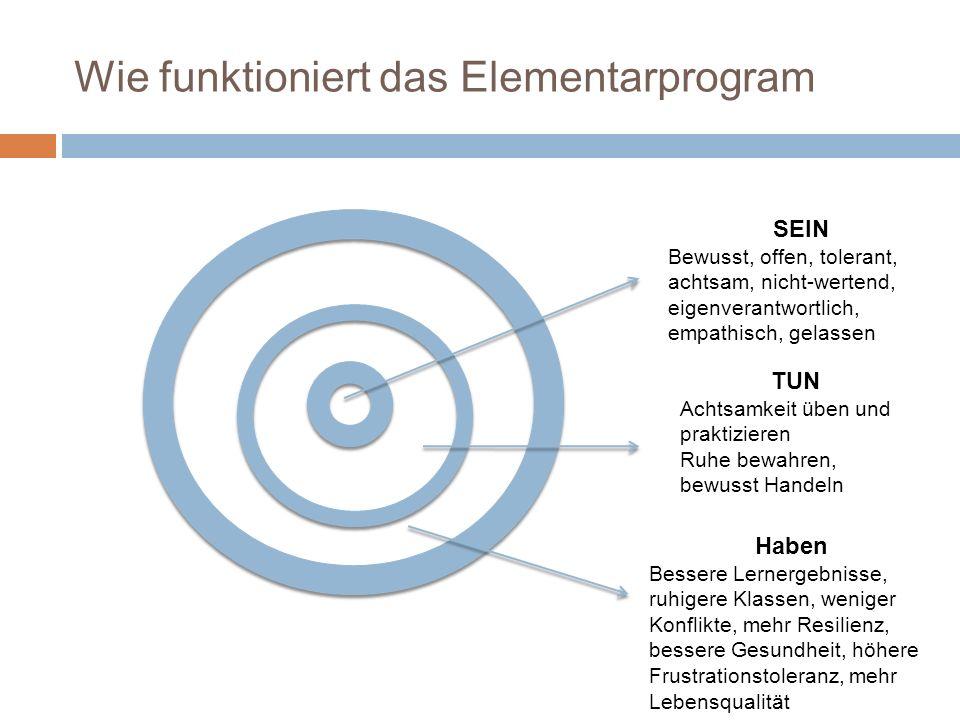 Wie funktioniert das Elementarprogram SEIN Bewusst, offen, tolerant, achtsam, nicht-wertend, eigenverantwortlich, empathisch, gelassen TUN Achtsamkeit