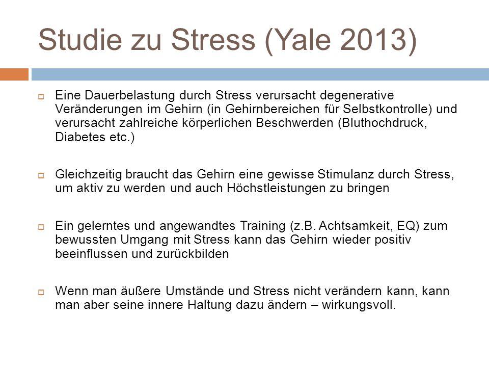 Studie zu Stress (Yale 2013) Eine Dauerbelastung durch Stress verursacht degenerative Veränderungen im Gehirn (in Gehirnbereichen für Selbstkontrolle) und verursacht zahlreiche körperlichen Beschwerden (Bluthochdruck, Diabetes etc.) Gleichzeitig braucht das Gehirn eine gewisse Stimulanz durch Stress, um aktiv zu werden und auch Höchstleistungen zu bringen Ein gelerntes und angewandtes Training (z.B.
