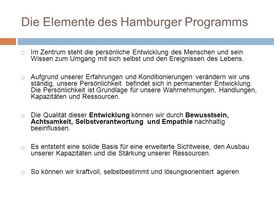 Die Elemente des Hamburger Programms Im Zentrum steht die persönliche Entwicklung des Menschen und sein Wissen zum Umgang mit sich selbst und den Erei
