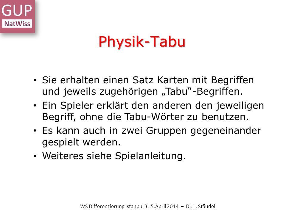 Physik-Tabu Sie erhalten einen Satz Karten mit Begriffen und jeweils zugehörigen Tabu-Begriffen. Ein Spieler erklärt den anderen den jeweiligen Begrif