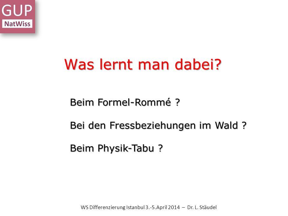 Was lernt man dabei? WS Differenzierung Istanbul 3.-5.April 2014 – Dr. L. Stäudel Beim Formel-Rommé ? Bei den Fressbeziehungen im Wald ? Beim Physik-T