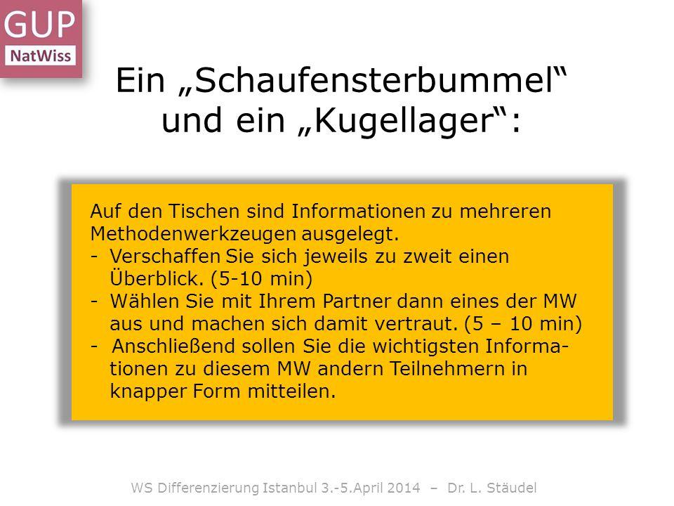 Ein Schaufensterbummel und ein Kugellager: WS Differenzierung Istanbul 3.-5.April 2014 – Dr. L. Stäudel Auf den Tischen sind Informationen zu mehreren