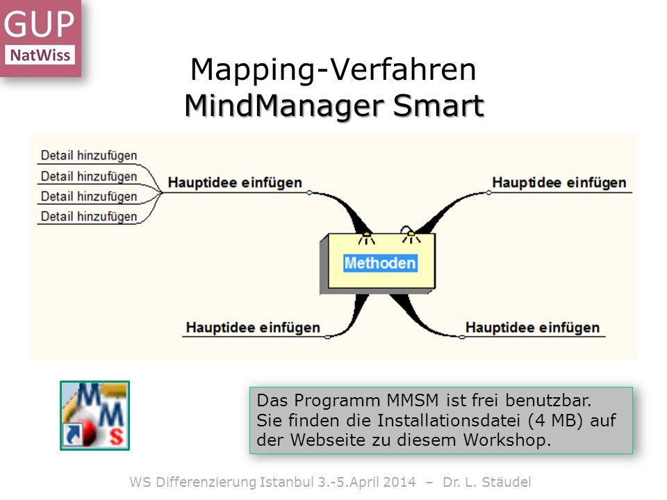 MindManager Smart Mapping-Verfahren MindManager Smart WS Differenzierung Istanbul 3.-5.April 2014 – Dr. L. Stäudel Das Programm MMSM ist frei benutzba