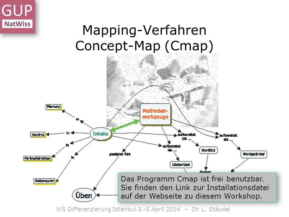 WS Differenzierung Istanbul 3.-5.April 2014 – Dr. L. Stäudel Das Programm Cmap ist frei benutzbar. Sie finden den Link zur Installationsdatei auf der