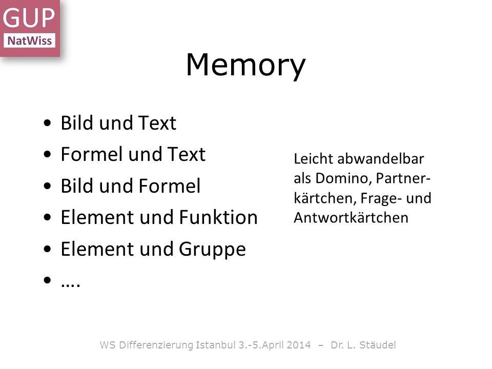 Bild und Text Formel und Text Bild und Formel Element und Funktion Element und Gruppe …. WS Differenzierung Istanbul 3.-5.April 2014 – Dr. L. Stäudel