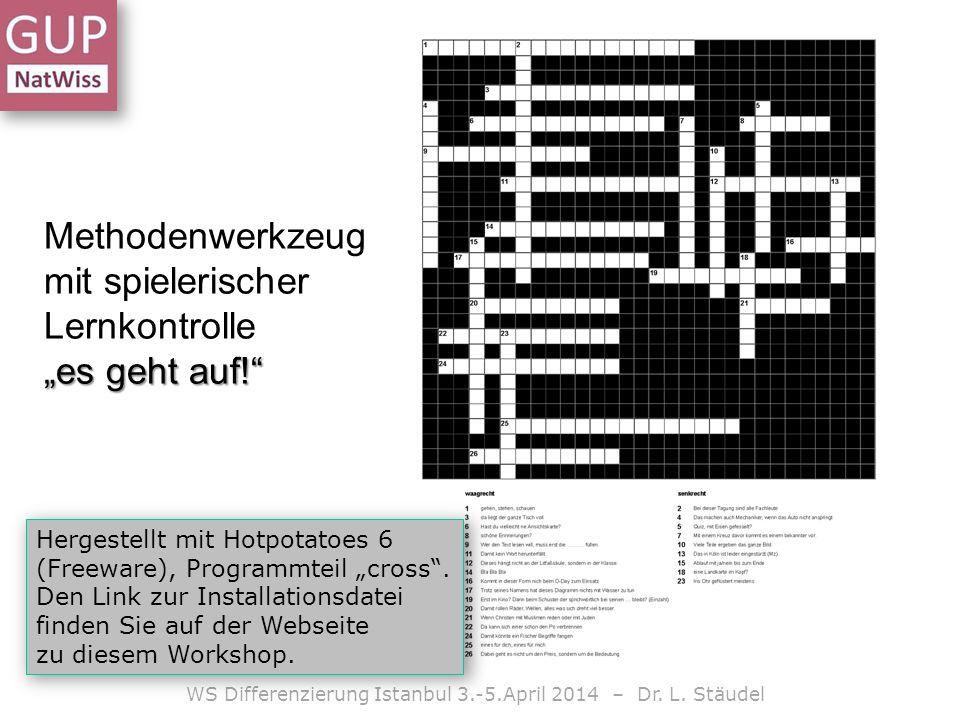 es geht auf! Methodenwerkzeug mit spielerischer Lernkontrolle es geht auf! WS Differenzierung Istanbul 3.-5.April 2014 – Dr. L. Stäudel Hergestellt mi
