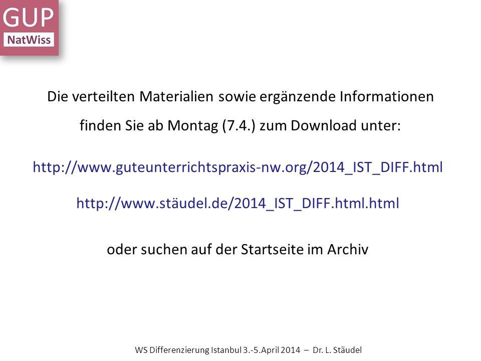 Die verteilten Materialien sowie ergänzende Informationen finden Sie ab Montag (7.4.) zum Download unter: http://www.guteunterrichtspraxis-nw.org/2014