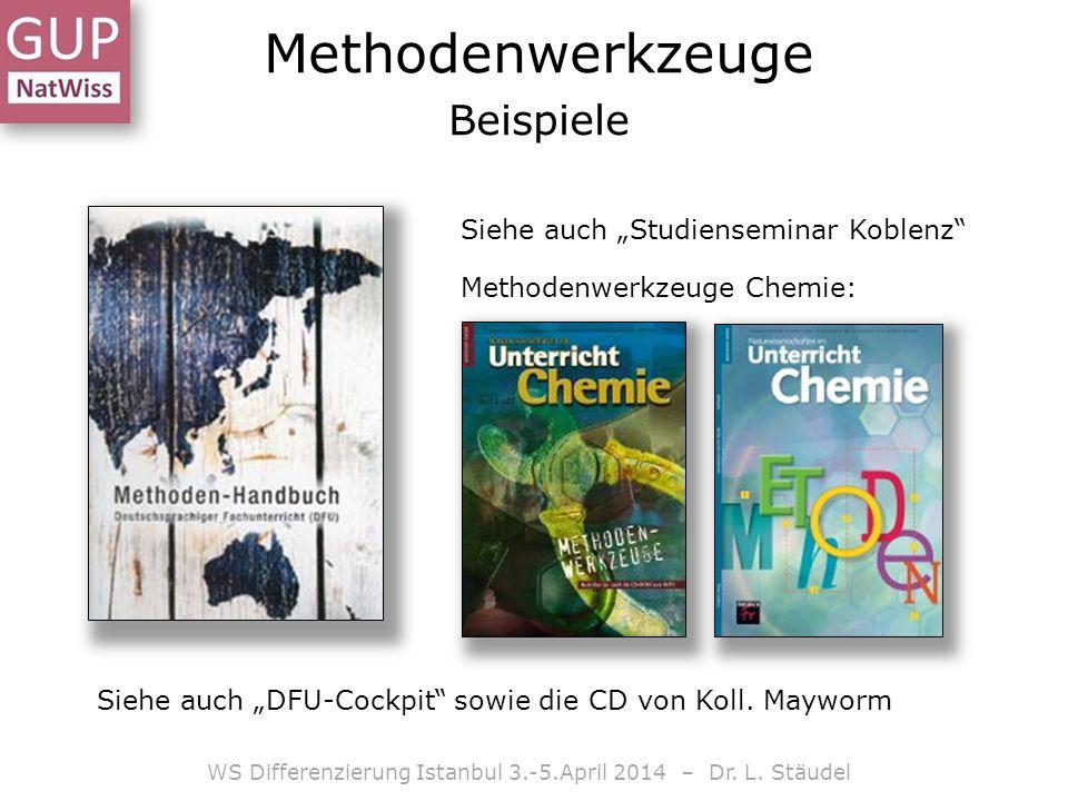 Methodenwerkzeuge Beispiele WS Differenzierung Istanbul 3.-5.April 2014 – Dr. L. Stäudel Siehe auch Studienseminar Koblenz Methodenwerkzeuge Chemie: S