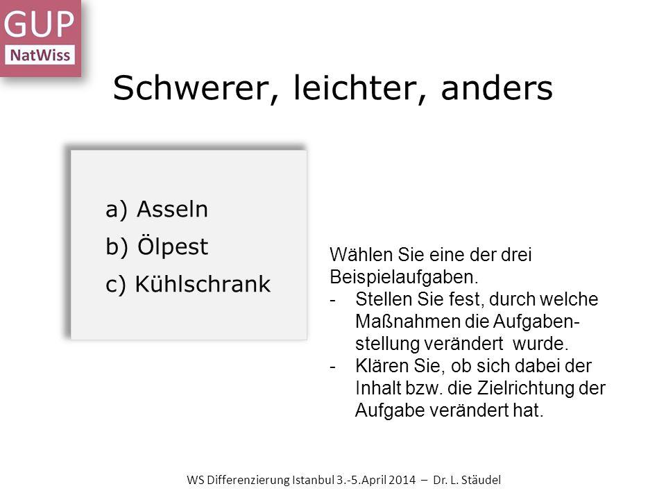 Schwerer, leichter, anders WS Differenzierung Istanbul 3.-5.April 2014 – Dr. L. Stäudel a) Asseln b) Ölpest c) Kühlschrank Wählen Sie eine der drei Be