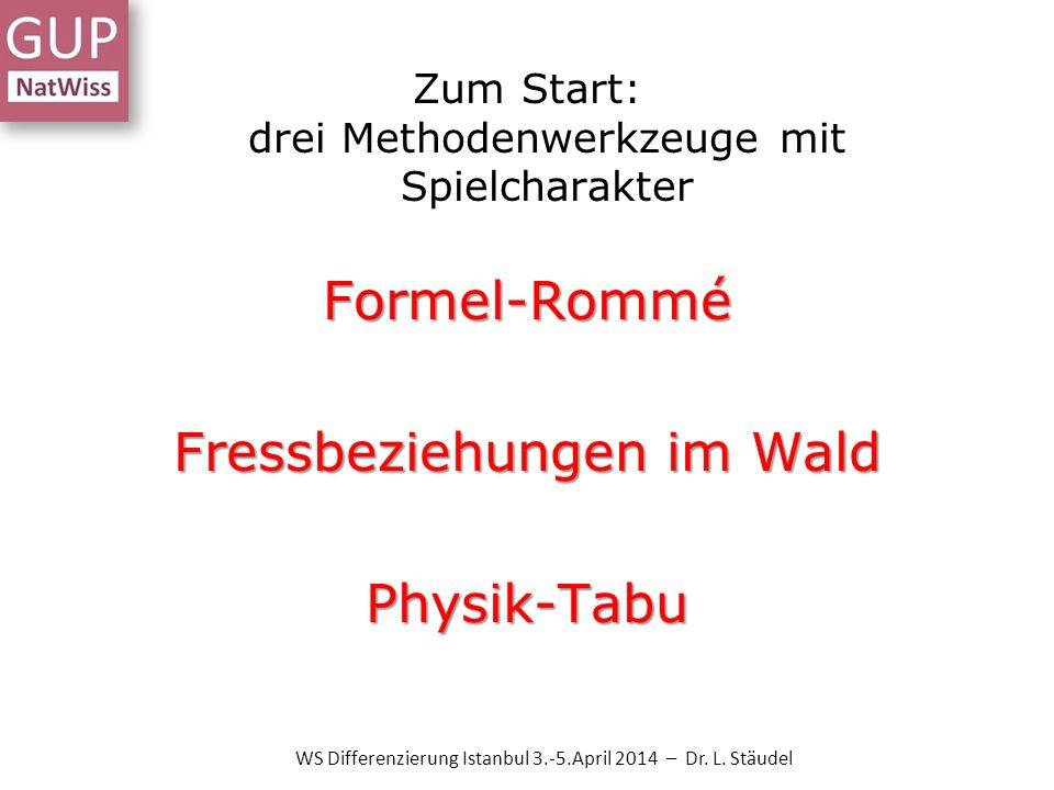 Zum Start: drei Methodenwerkzeuge mit Spielcharakter Formel-Rommé Fressbeziehungen im Wald Physik-Tabu WS Differenzierung Istanbul 3.-5.April 2014 – D