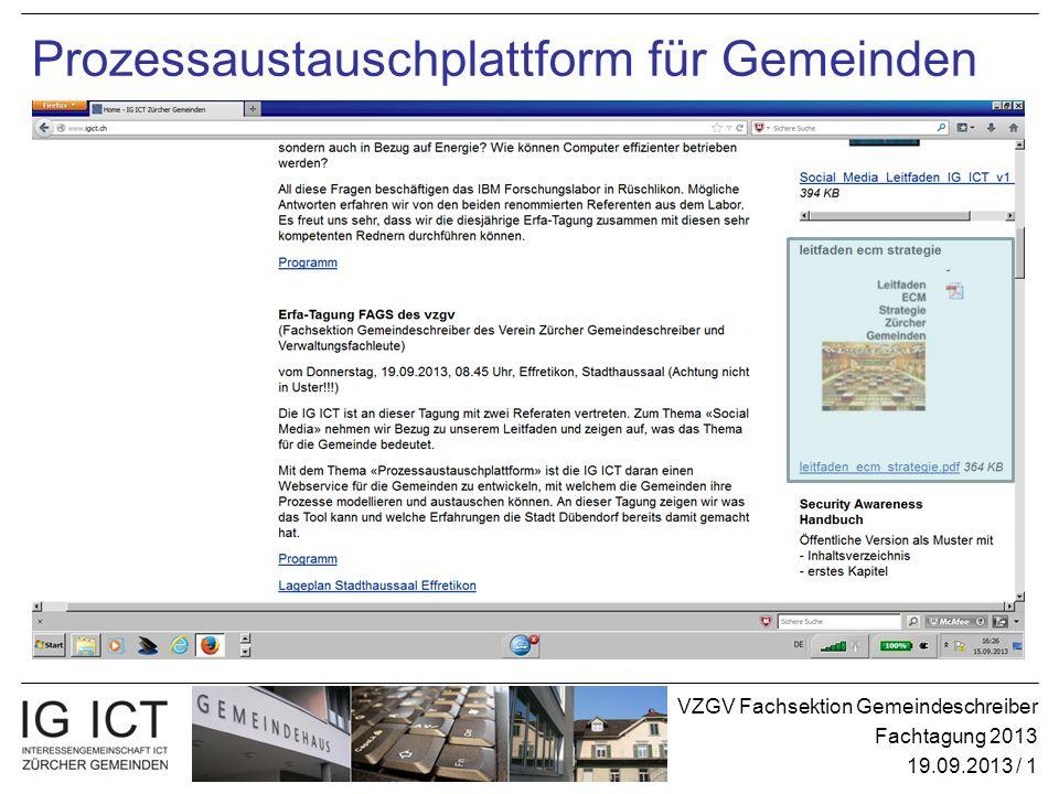 VZGV Fachsektion Gemeindeschreiber Fachtagung 2013 19.09.2013 / 1 Prozessaustauschplattform für Gemeinden