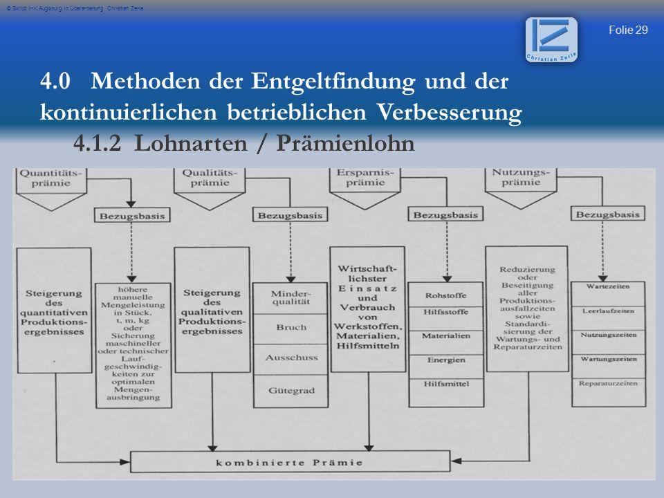 Folie 29 © Skript IHK Augsburg in Überarbeitung Christian Zerle 4.0 Methoden der Entgeltfindung und der kontinuierlichen betrieblichen Verbesserung 4.1.2 Lohnarten / Prämienlohn