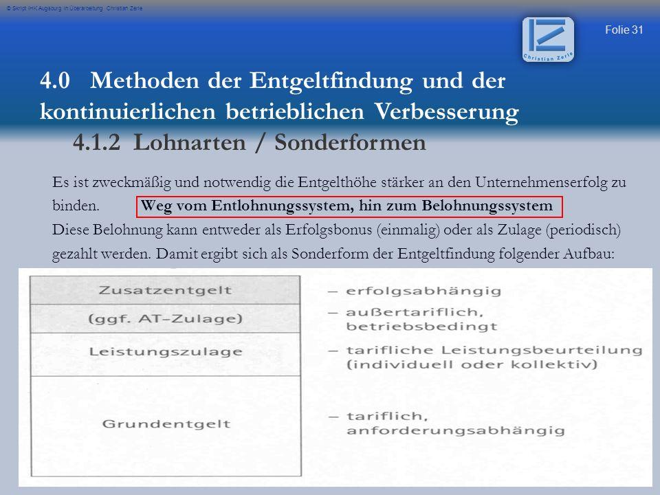 Folie 31 © Skript IHK Augsburg in Überarbeitung Christian Zerle Es ist zweckmäßig und notwendig die Entgelthöhe stärker an den Unternehmenserfolg zu binden.