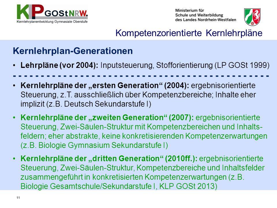 11 Kernlehrplan-Generationen Lehrpläne (vor 2004): Inputsteuerung, Stofforientierung (LP GOSt 1999) - - - - - - - - - - - - - - - - - - - - - - - Kern