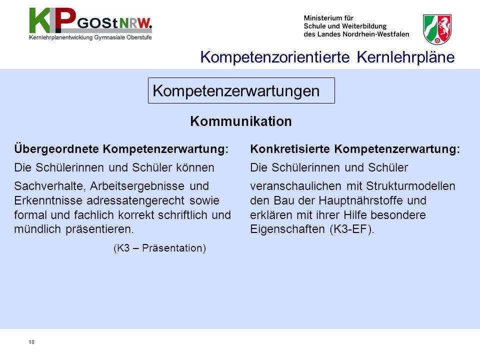 Kommunikation Kompetenzorientierte Kernlehrpläne Kompetenzerwartungen Übergeordnete Kompetenzerwartung: Die Schülerinnen und Schüler können Sachverhal
