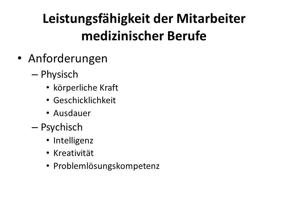 Leistungsfähigkeit der Mitarbeiter medizinischer Berufe Anforderungen – Physisch körperliche Kraft Geschicklichkeit Ausdauer – Psychisch Intelligenz K