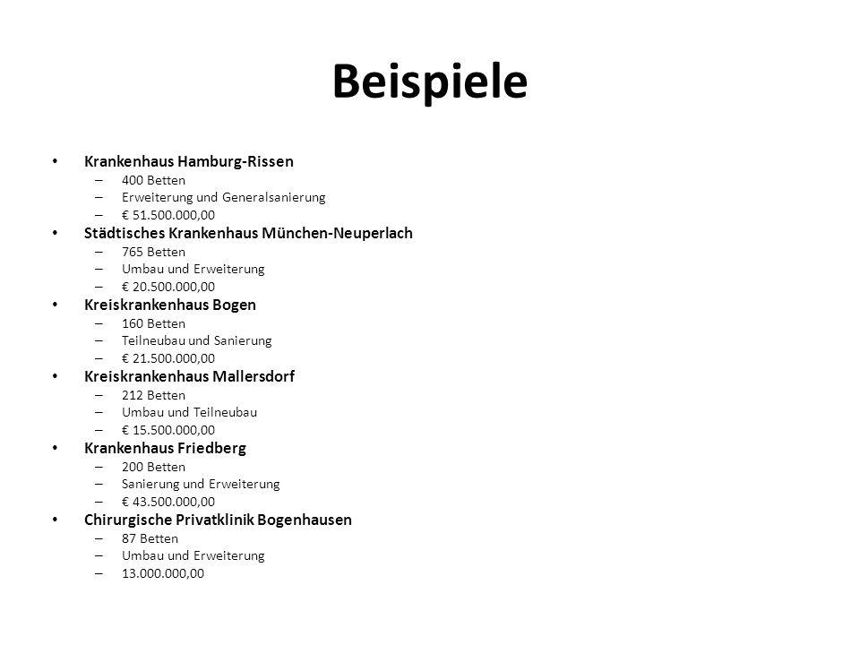 Beispiele Krankenhaus Hamburg-Rissen – 400 Betten – Erweiterung und Generalsanierung – 51.500.000,00 Städtisches Krankenhaus München-Neuperlach – 765