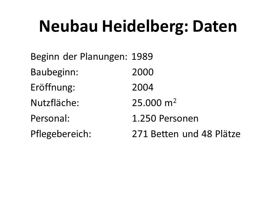 Neubau Heidelberg: Daten Beginn der Planungen: 1989 Baubeginn: 2000 Eröffnung: 2004 Nutzfläche: 25.000 m 2 Personal: 1.250 Personen Pflegebereich: 271