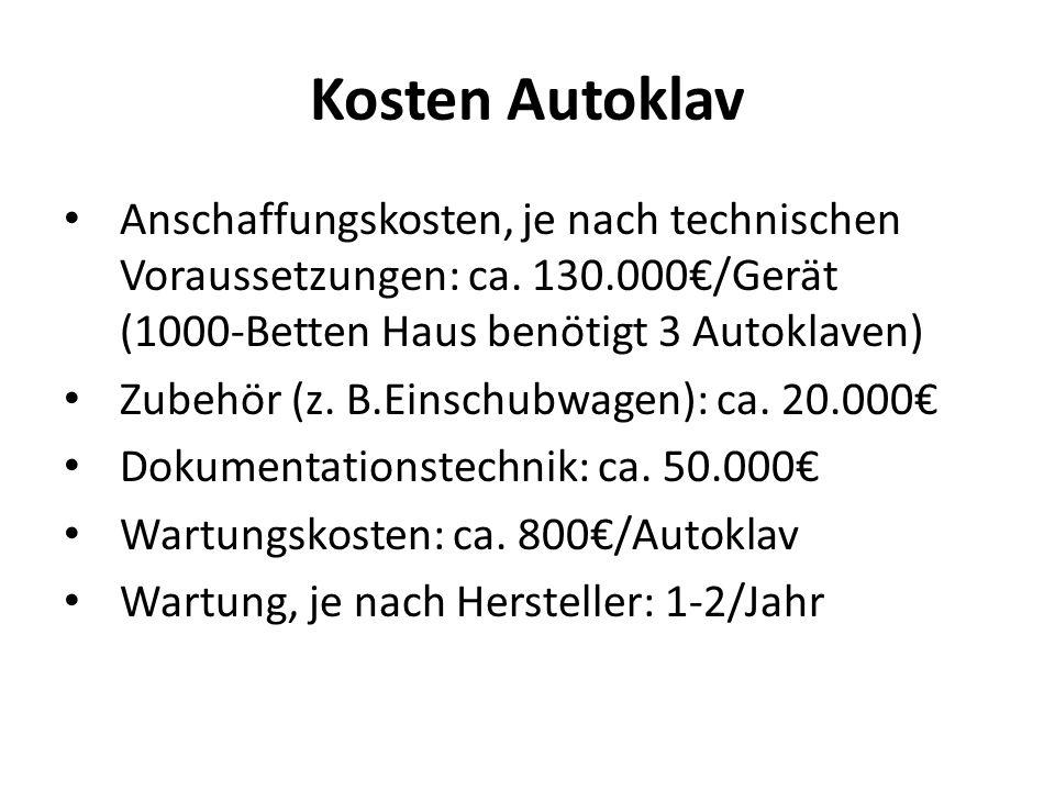 Kosten Autoklav Anschaffungskosten, je nach technischen Voraussetzungen: ca. 130.000/Gerät (1000-Betten Haus benötigt 3 Autoklaven) Zubehör (z. B.Eins