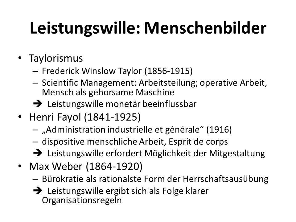 Leistungswille: Menschenbilder Taylorismus – Frederick Winslow Taylor (1856-1915) – Scientific Management: Arbeitsteilung; operative Arbeit, Mensch al