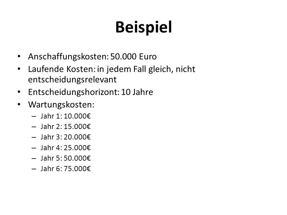 Beispiel Anschaffungskosten: 50.000 Euro Laufende Kosten: in jedem Fall gleich, nicht entscheidungsrelevant Entscheidungshorizont: 10 Jahre Wartungsko