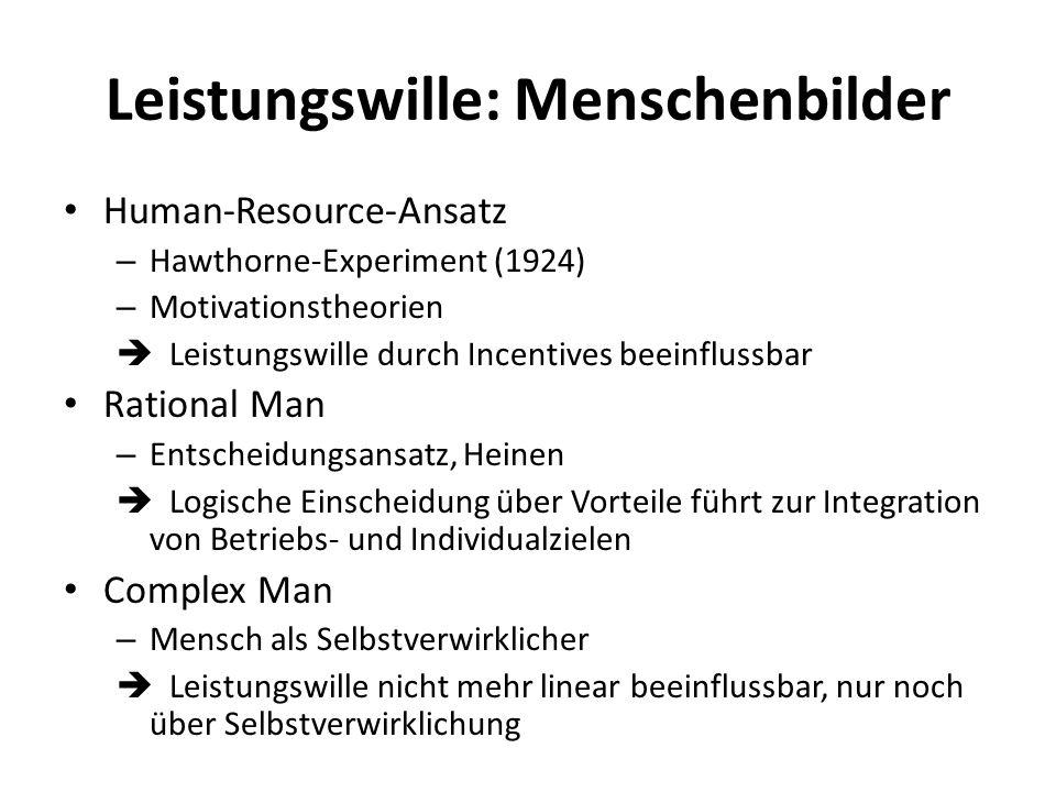 Leistungswille: Menschenbilder Human-Resource-Ansatz – Hawthorne-Experiment (1924) – Motivationstheorien Leistungswille durch Incentives beeinflussbar