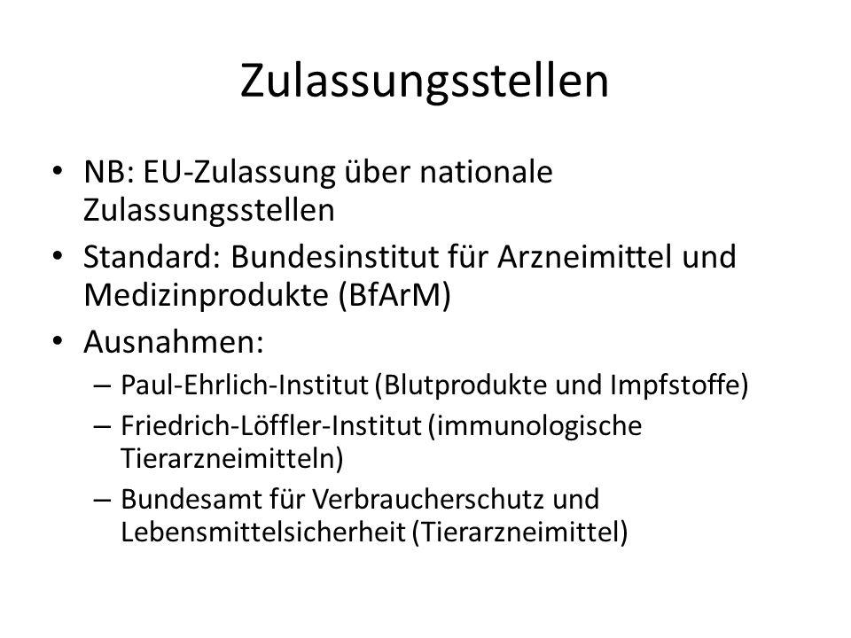 Zulassungsstellen NB: EU-Zulassung über nationale Zulassungsstellen Standard: Bundesinstitut für Arzneimittel und Medizinprodukte (BfArM) Ausnahmen: –