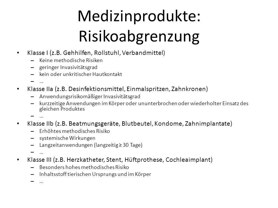 Medizinprodukte: Risikoabgrenzung Klasse I (z.B. Gehhilfen, Rollstuhl, Verbandmittel) – Keine methodische Risiken – geringer Invasivitätsgrad – kein o
