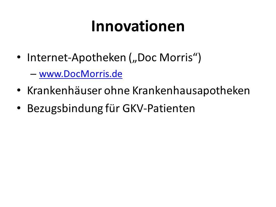 Innovationen Internet-Apotheken (Doc Morris) – www.DocMorris.de www.DocMorris.de Krankenhäuser ohne Krankenhausapotheken Bezugsbindung für GKV-Patient