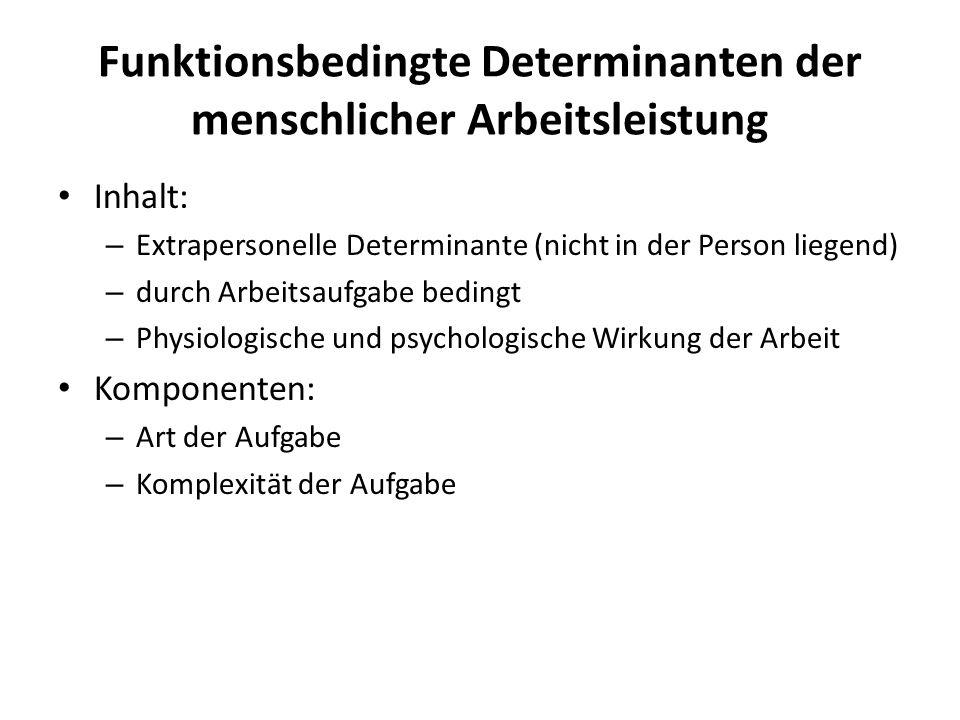 Funktionsbedingte Determinanten der menschlicher Arbeitsleistung Inhalt: – Extrapersonelle Determinante (nicht in der Person liegend) – durch Arbeitsa