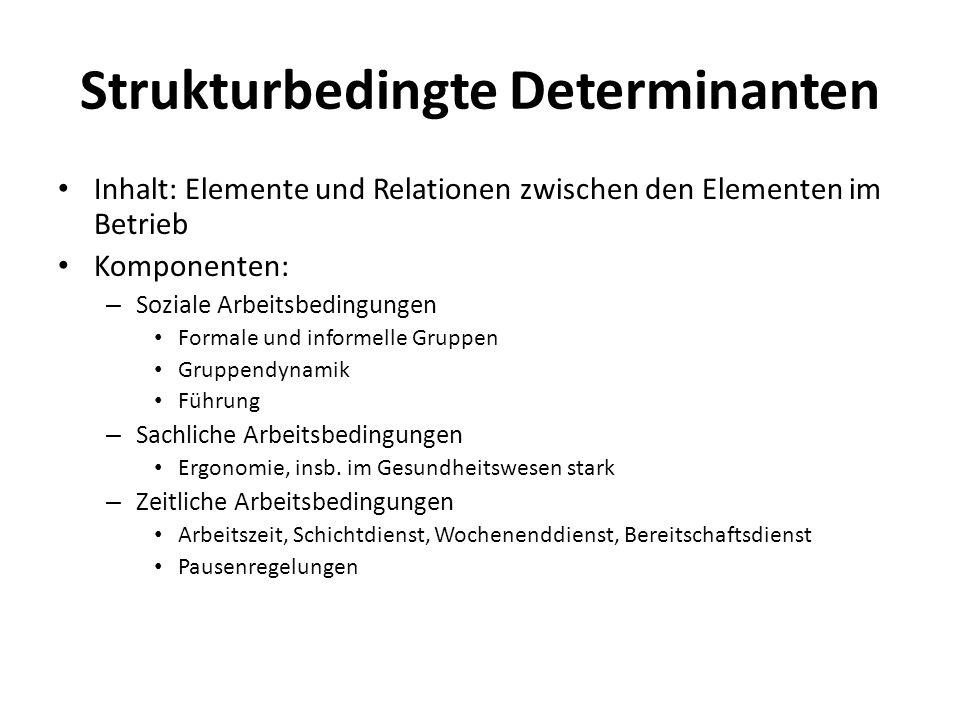 Strukturbedingte Determinanten Inhalt: Elemente und Relationen zwischen den Elementen im Betrieb Komponenten: – Soziale Arbeitsbedingungen Formale und
