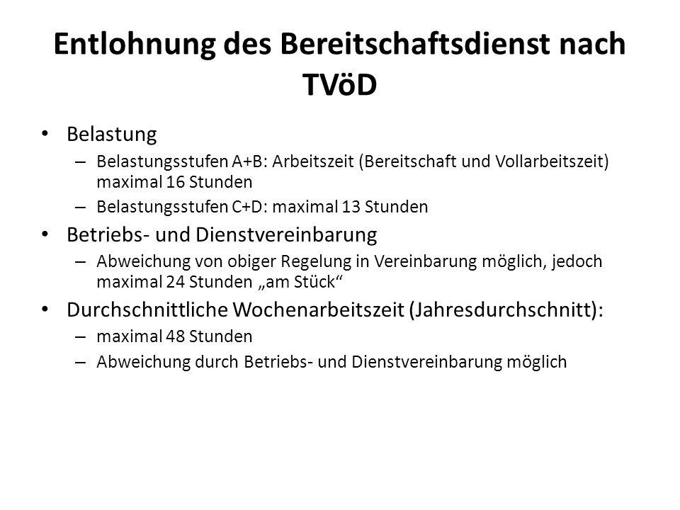 Entlohnung des Bereitschaftsdienst nach TVöD Belastung – Belastungsstufen A+B: Arbeitszeit (Bereitschaft und Vollarbeitszeit) maximal 16 Stunden – Bel