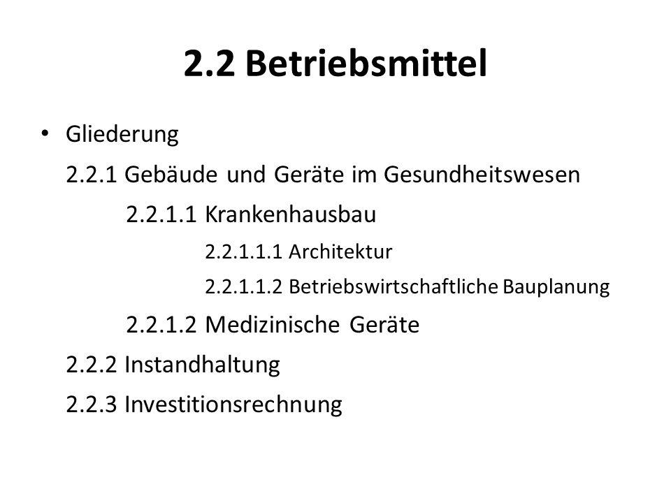 2.2 Betriebsmittel Gliederung 2.2.1 Gebäude und Geräte im Gesundheitswesen 2.2.1.1 Krankenhausbau 2.2.1.1.1 Architektur 2.2.1.1.2 Betriebswirtschaftli
