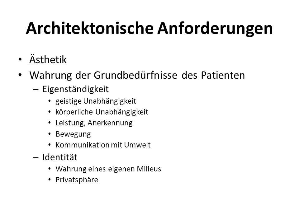Architektonische Anforderungen Ästhetik Wahrung der Grundbedürfnisse des Patienten – Eigenständigkeit geistige Unabhängigkeit körperliche Unabhängigke