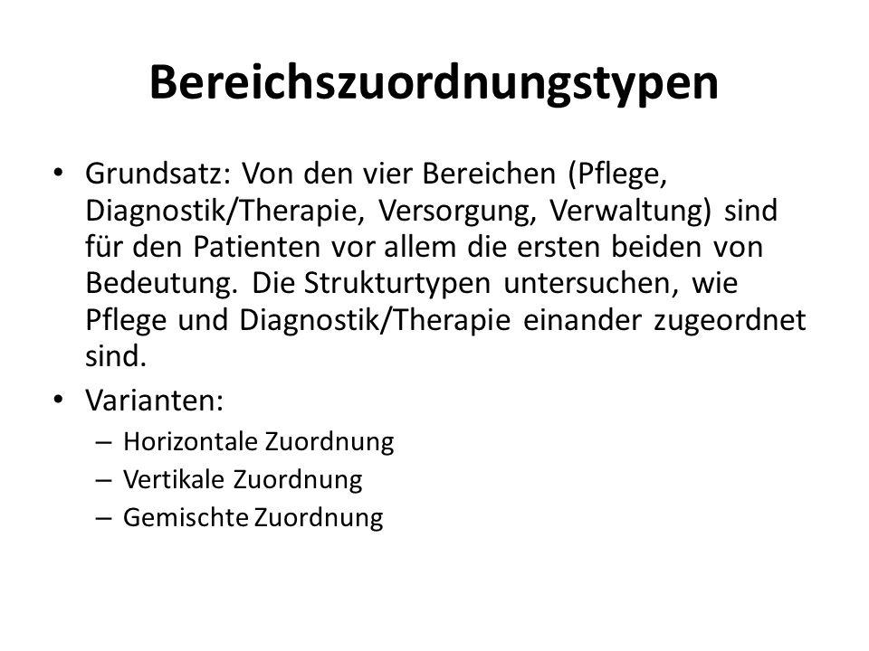 Bereichszuordnungstypen Grundsatz: Von den vier Bereichen (Pflege, Diagnostik/Therapie, Versorgung, Verwaltung) sind für den Patienten vor allem die e