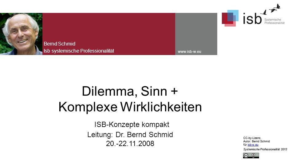 CC-by-Lizenz, Autor: Bernd Schmid für isb-w.euisb-w.eu Systemische Professionalität 2013 Seite 12 In jeder Phase des Dilemmazirkel kann man durch positive Prozesse auch in entsprechende Phasen des Sinnzirkels aufsteigen, bzw.
