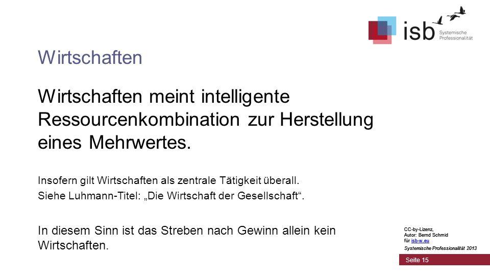 CC-by-Lizenz, Autor: Bernd Schmid für isb-w.euisb-w.eu Systemische Professionalität 2013 Seite 15 Wirtschaften Wirtschaften meint intelligente Ressour
