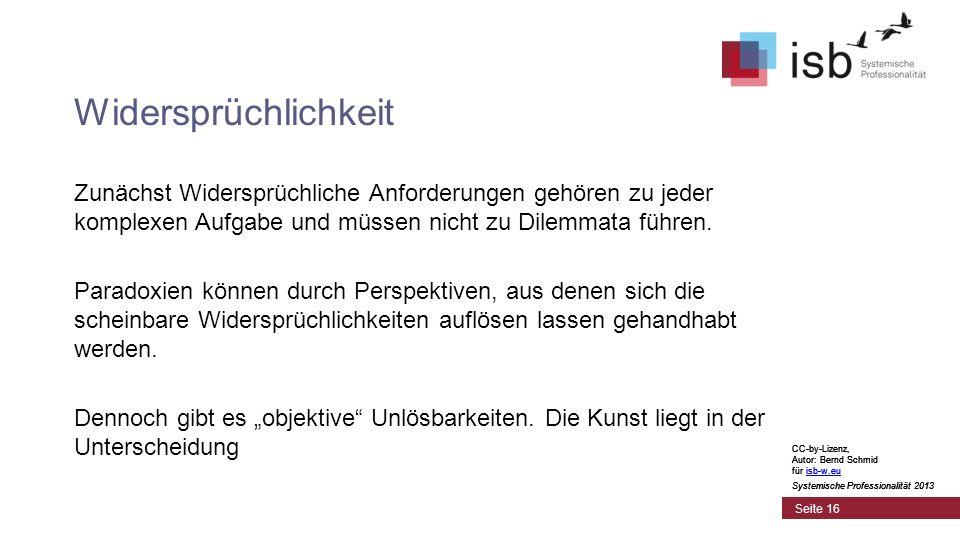 CC-by-Lizenz, Autor: Bernd Schmid für isb-w.euisb-w.eu Systemische Professionalität 2013 Seite 16 Widersprüchlichkeit Zunächst Widersprüchliche Anford