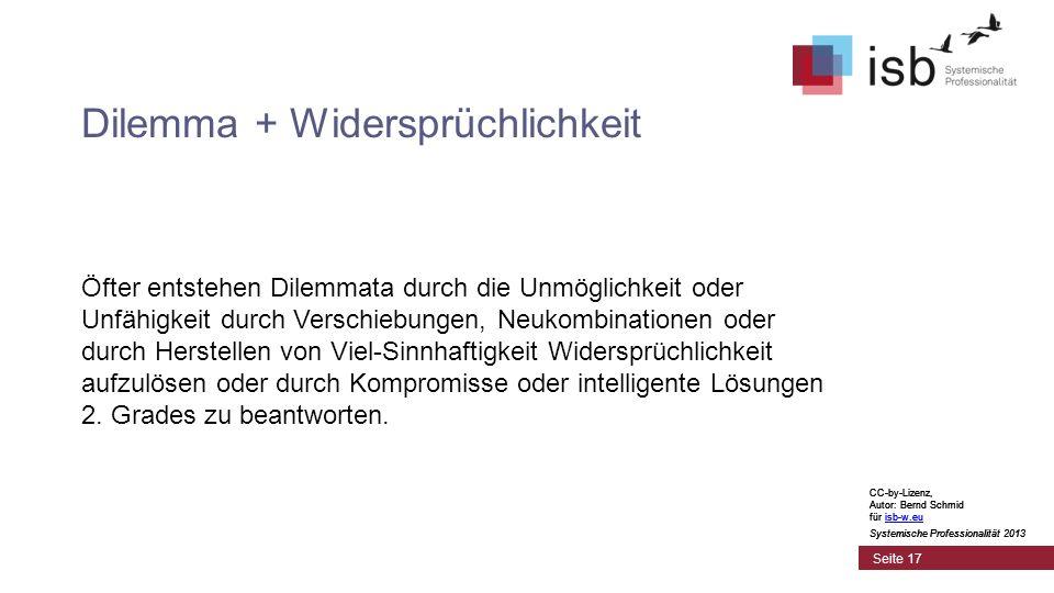 CC-by-Lizenz, Autor: Bernd Schmid für isb-w.euisb-w.eu Systemische Professionalität 2013 Seite 17 Dilemma + Widersprüchlichkeit Öfter entstehen Dilemm
