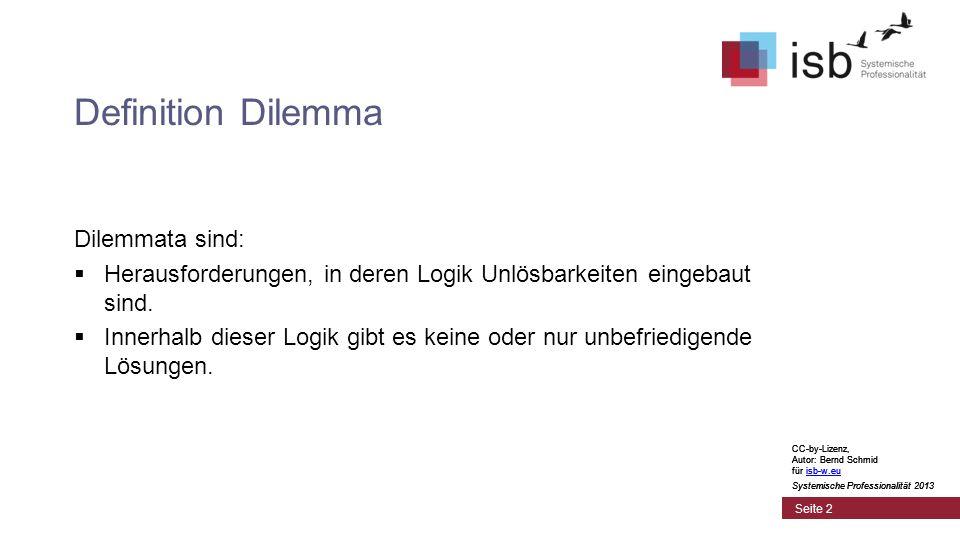 CC-by-Lizenz, Autor: Bernd Schmid für isb-w.euisb-w.eu Systemische Professionalität 2013 Seite 2 Definition Dilemma Dilemmata sind: Herausforderungen,
