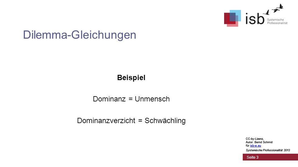 CC-by-Lizenz, Autor: Bernd Schmid für isb-w.euisb-w.eu Systemische Professionalität 2013 Seite 3 Dilemma-Gleichungen Beispiel Dominanz = Unmensch Domi