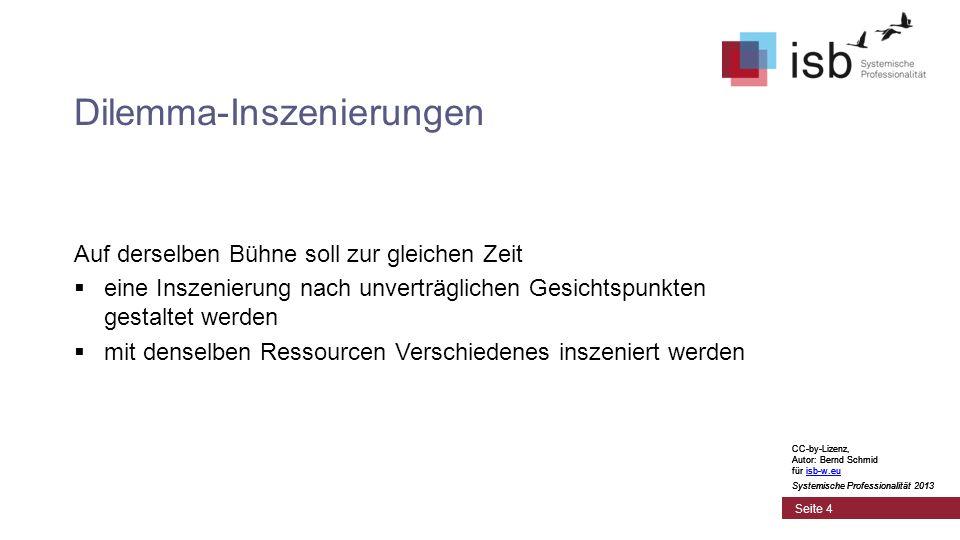 CC-by-Lizenz, Autor: Bernd Schmid für isb-w.euisb-w.eu Systemische Professionalität 2013 Seite 5 Dilemma-Zirkel CC-by-Lizenz, Autor: Bernd Schmid für isb-w.euisb-w.eu Systemische Professionalität 2013 CC-by-Lizenz, Autor: Bernd Schmid für isb-w.euisb-w.eu Systemische Professionalität 2013