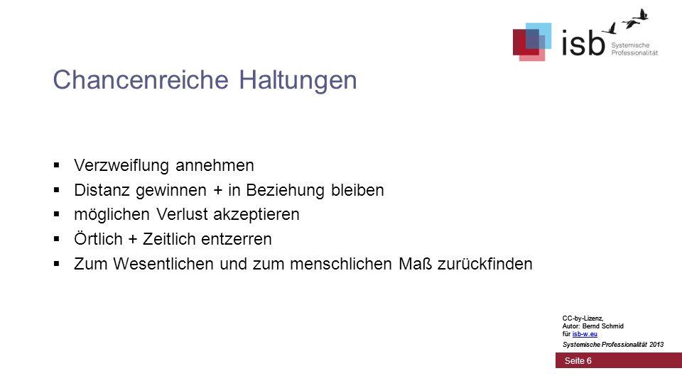 CC-by-Lizenz, Autor: Bernd Schmid für isb-w.euisb-w.eu Systemische Professionalität 2013 Seite 6 Chancenreiche Haltungen Verzweiflung annehmen Distanz
