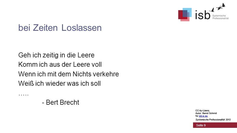 CC-by-Lizenz, Autor: Bernd Schmid für isb-w.euisb-w.eu Systemische Professionalität 2013 Seite 9 bei Zeiten Loslassen Geh ich zeitig in die Leere Komm