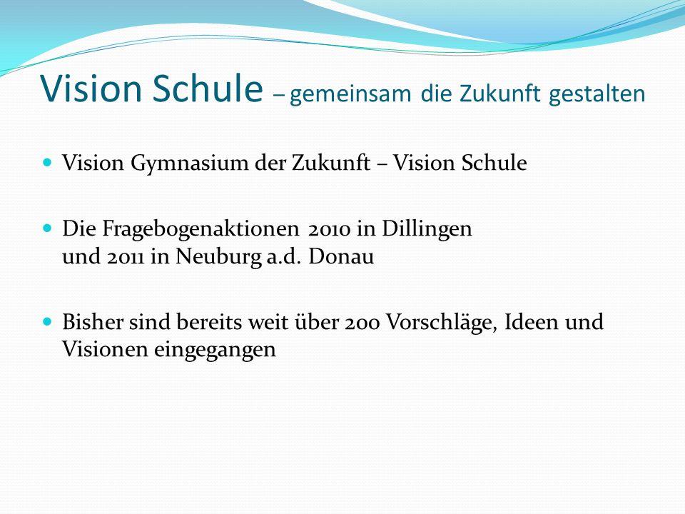 Vision Schule – gemeinsam die Zukunft gestalten Vision Gymnasium der Zukunft – Vision Schule Die Fragebogenaktionen 2010 in Dillingen und 2011 in Neuburg a.d.