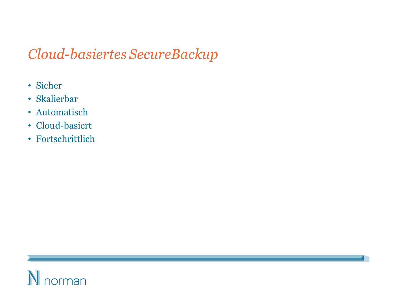 Cloud-basiertes SecureBackup Sicher Skalierbar Automatisch Cloud-basiert Fortschrittlich