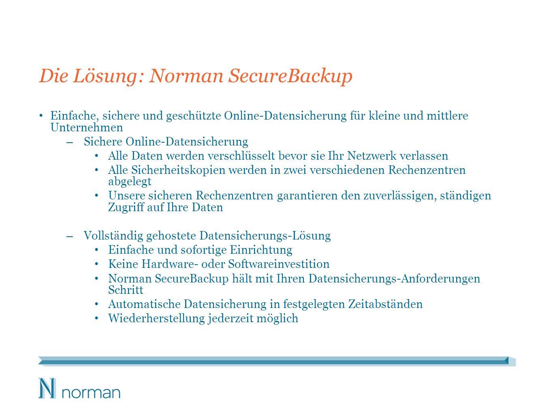 Die Lösung: Norman SecureBackup Einfache, sichere und geschützte Online-Datensicherung für kleine und mittlere Unternehmen – Sichere Online-Datensiche