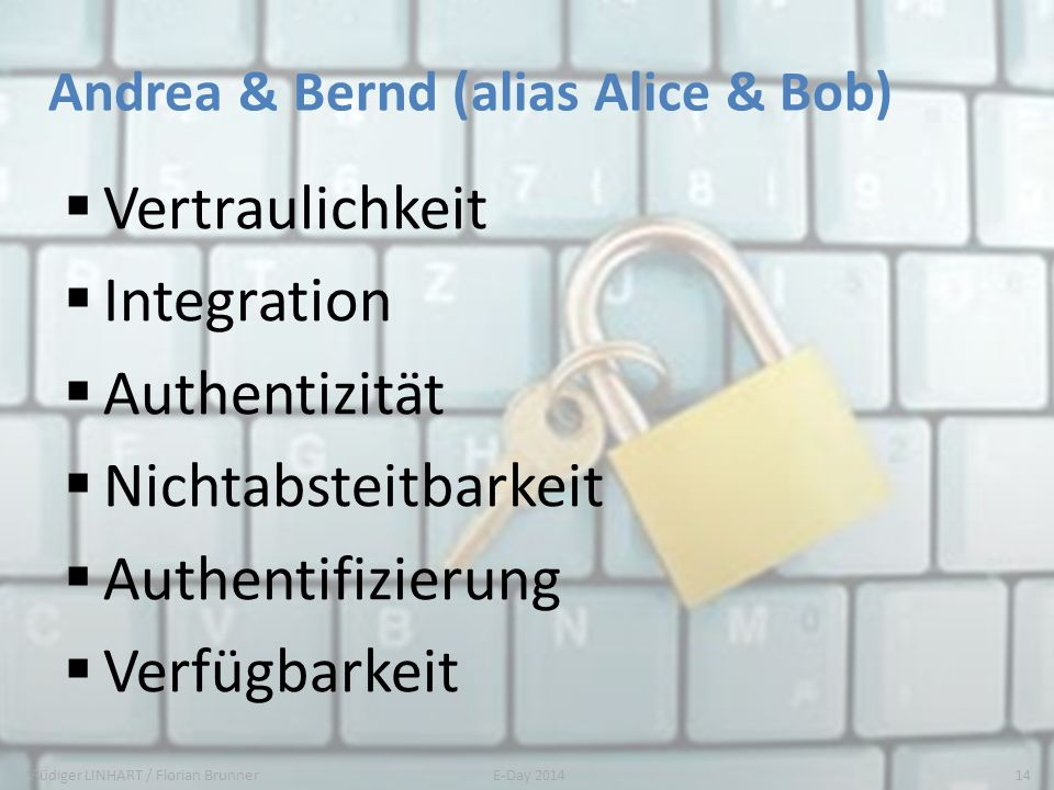 Andrea & Bernd (alias Alice & Bob) Vertraulichkeit Integration Authentizität Nichtabsteitbarkeit Authentifizierung Verfügbarkeit Rüdiger LINHART / Flo